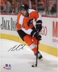 "Matt Read Philadelphia Flyers Autographed Orange Jersey With Puck 8"" x 10"" Photograph"