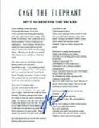 Matt Shultz Signed AIN'T NOT REST FOR THE WICKED Cage The Elephant Lyric Sheet
