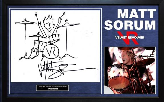 Matt Sorum Guns N Roses Velvet Revolver Autographed Art Sketch Display