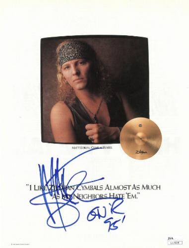 Matt Sorum signed 8x10.5 Guns N' Roses Magazine Page/Photo- JSA #U17804 (Zildjian Cymbals)