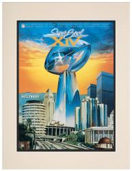 "1980 Steelers vs Rams 10.5"" x 14"" Matted Super Bowl XIV Program"
