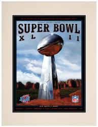 """2008 Giants vs Patriots 10.5"""" x 14"""" Matted Super Bowl XLII Program"""