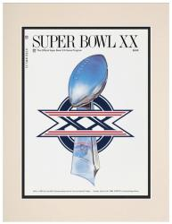 "1986 Bears vs Patriots 10.5"" x 14"" Matted Super Bowl XX Program"