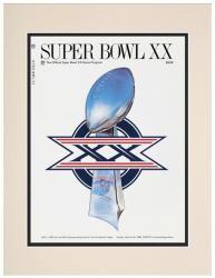 "1986 Bears vs Patriots 10.5"" x 14"" Matted Super Bowl XX Program"