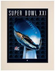 "1987 Giants vs Broncos 10.5"" x 14"" Matted Super Bowl XXI Program"