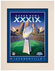 """2005 Patriots vs Eagles 10.5"""" x 14"""" Matted Super Bowl XXXIX Program"""