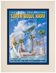 """2001 Ravens vs Giants 10.5"""" x 14"""" Matted Super Bowl XXXV Program"""