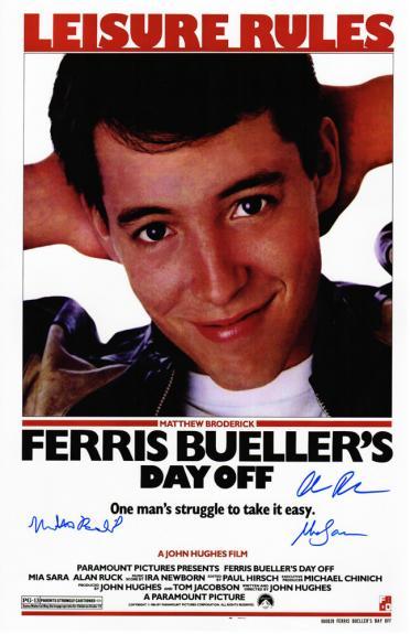 Matthew Broderick, Mia Sara & Alan Ruck Cast Signed Ferris Bueller's Day Off 11x17 Movie Poster