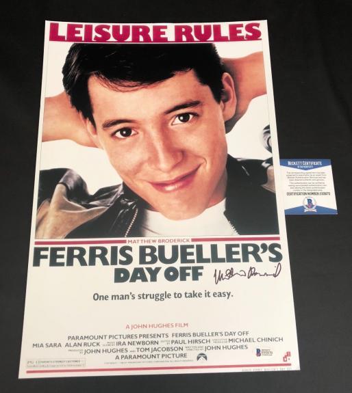 Matthew Broderick Signed Auto Ferris Bueller's Day Off 12x18 Beckett Bas Coa 20