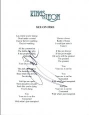 Matthew Followill Signed Autographed SEX ON FIRE Kings of Leon Lyric Sheet COA