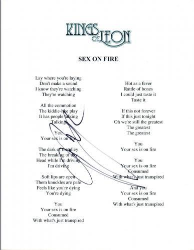 Matthew Followill Signed Autographed SEX ON FIRE Kings of Leon Lyric Sheet COA