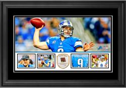 "Matthew Stafford Detroit Lions Framed 10"" x 18""  Panoramic with Piece of Game-Used Football - Limited Edition of 250"