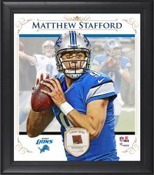 "Matthew Stafford Detroit Lions Framed 15"" x 17"" Composite Collage with Piece of Game-Used Football"