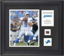 Matthew Stafford Detroit Lions Framed 8'' x 10'' Photograph with Game-Used Football Piece & Descriptive Plate-Limited Edition of 500 - Mounted Memories