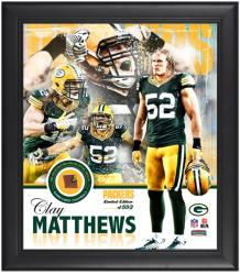 Green Bay Packers Clay Matthews Framed Collage with Football - Mounted Memories