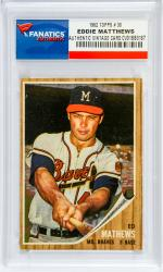Eddie Matthews Atlanta Braves 1962 Topps #30 Card - - Mounted Memories