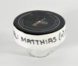Shawn Matthias Florida Panthers 3/28/13 Game-Used Goal Puck #2 vs. Buffalo Sabres - Mounted Memories