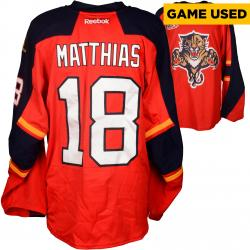 Shawn Matthias Florida Panthers Game-Used 2013-14 Set 1 Red Jersey