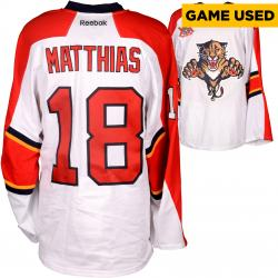 Shawn Matthieas Game Used Panthers White Jersey