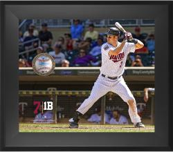 "Joe Mauer Minnesota Twins Framed 20"" x 24"" Gamebreaker Photograph with Game-Used Ball"