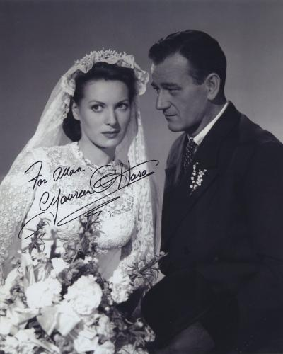 Maureen O'hara Signed Autographed Bw 8x10 Photo For Allan With John Wayne
