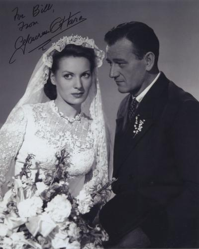 Maureen O'hara Signed Autographed Bw 8x10 Photo For Bill With John Wayne
