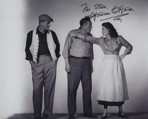 Maureen O'hara Signed Autographed Bw 8x10 Photo For Steve With John Wayne