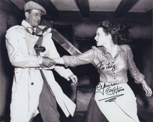 Maureen O'hara Signed Autographed Bw 8x10 Photo For Tony With John Wayne