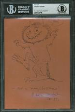 Maurice Sendak Signed Autographed 4x6 Wild Things Sketch Beckett BAS