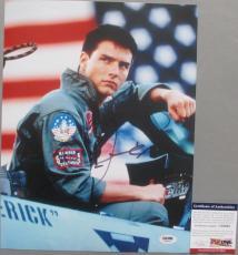 MAVERICK PETE MITCHELL!!! Tom Cruise Signed TOP GUN 11x14 Photo #2 PSA/DNA