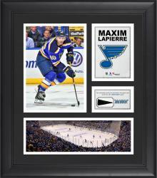 """Maxim Lapierre St. Louis Blues Framed 15"""" x 17"""" Collage with Piece of Game-Used Puck"""
