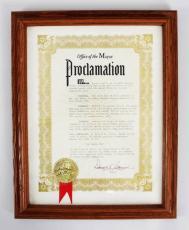 Mayor Donald Cronin Signed Joe Louis Day Proclamation Award