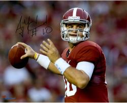 "AJ McCarron Alabama Crimson Tide Autographed 16"" x 20"" Red Uniform Photograph"