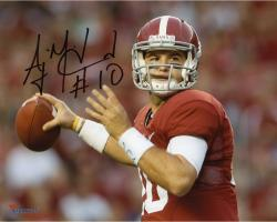 AJ McCarron Alabama Crimson Tide Autographed 8'' x 10'' Red Uniform Photograph - Mounted Memories  - Mounted Memories