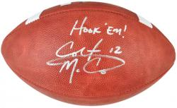 Colt McCoy Texas Longhorns Autographed NCAA Wilson Football with Hook Em Inscription - Mounted Memories