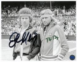"John McEnroe & Bjorn Borg Autographed 8"" x 10"" B&W Photograph"