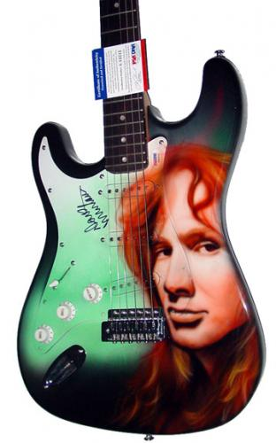 Megadeth Autographed Dave Mustaine Signed Airbrush Guitar PSA AFTAL