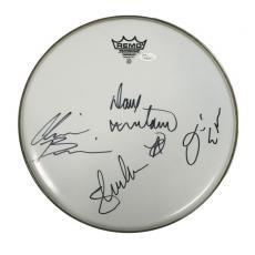 Megadeth (4) Mustaine, Broderick, Ellefson & Drover Signed Drumhead JSA #Y79415