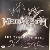 """MEGADETH Dave Mustaine +3 Signed """"The Threat Is Real"""" Album LP PSA/DNA #AB00996"""