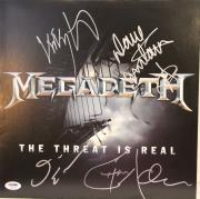 "MEGADETH Dave Mustaine +3 Signed ""The Threat Is Real"" Album LP PSA/DNA #AB00996"