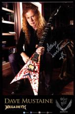 Megadeth Dave Mustaine Autographed Dean Guitars 11x17 Poster Photo AFTAL