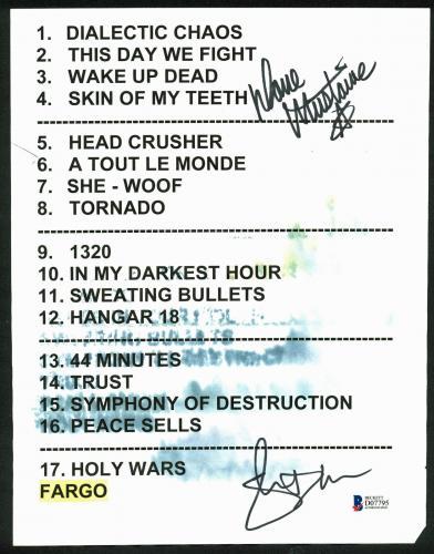 Megadeth Dave Mustaine & Shawn Drover Signed Original Set List BAS #D07795