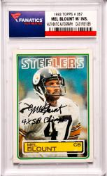Mel Blount Pittsburgh Steelers Autographed 1983 Topps #357 Card with 4 X SB Champ Inscription
