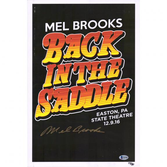 """Mel Brooks Back in the Saddle Autographed 12"""" x 18"""" Movie Poster -BAS"""