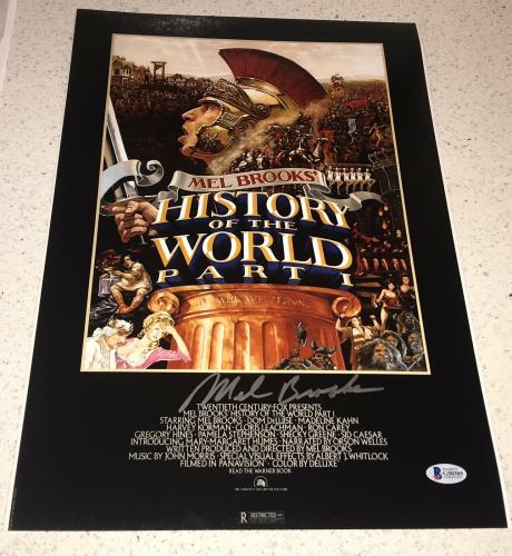 """MEL BROOKS SIGNED AUTOGRAPH CLASSIC """"HISTORY OF WORLD"""" POSTER 12x18 PHOTO BAS"""
