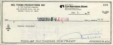 Mel Torme Jazz Scat Singer Nicknamed The Velvet Fog Signed Check Autograph