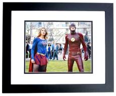 Melissa Benoist and Grant Gustin Signed - Autographed Supergirl and The Flash 11x14 inch Photo BLACK CUSTOM FRAME - Guaranteed to pass PSA or JSA