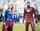 Melissa Benoist and Grant Gustin Signed - Autographed Supergirl and The Flash 11x14 inch Photo - Guaranteed to pass PSA or JSA