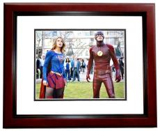 Melissa Benoist and Grant Gustin Signed - Autographed Supergirl and The Flash 11x14 inch Photo MAHOGANY CUSTOM FRAME - Guaranteed to pass PSA or JSA