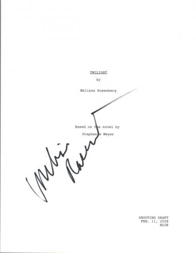 Melissa Rosenberg Signed Autograph TWILIGHT Movie Script Screenwriter COA